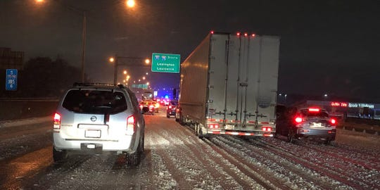 A jack-knifed semi brought traffic on Interstate 71/75 to a standstill Sunday, Jan. 20, 2019 morning in Northern Kentucky.