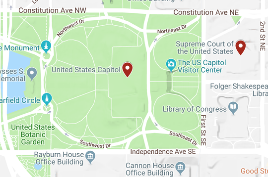 This map shows the area of the Capitol and Supreme Court.