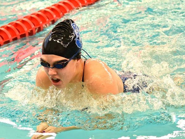 Maliah Bricking of Summit Country Day swims in the Girls 50 Yard Breaststroke preliminaries at the Southwest Ohio Swimming and Diving Classic, January 19, 2019.