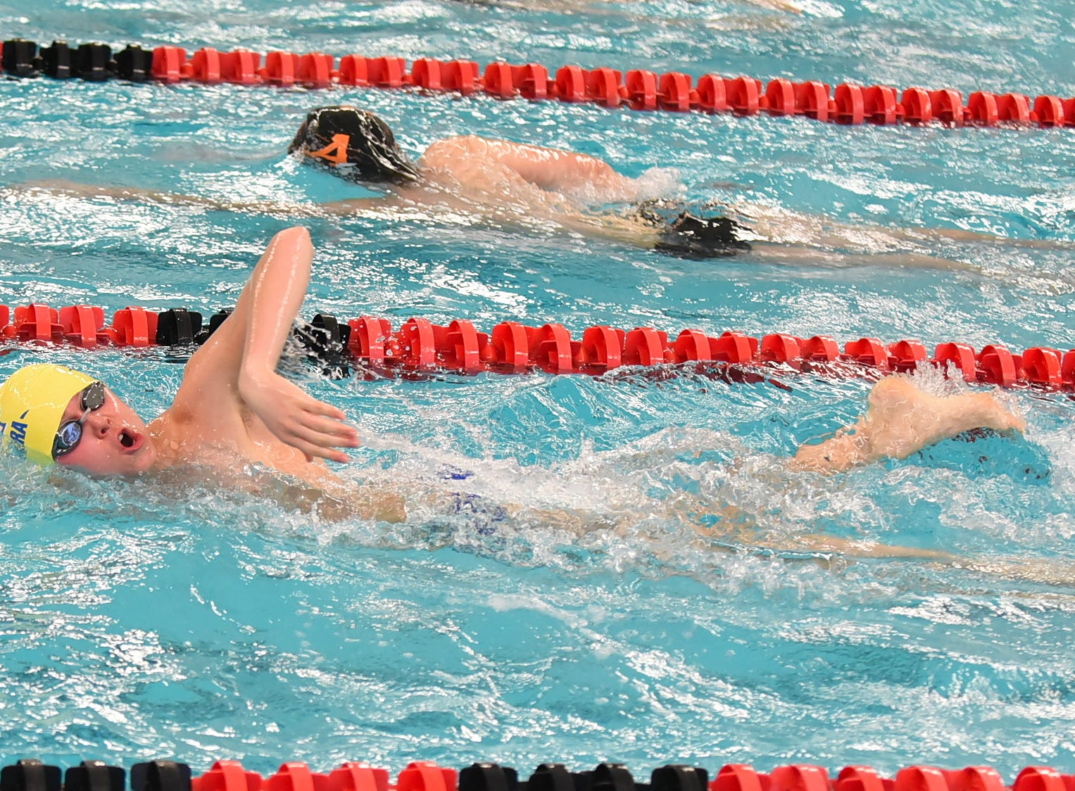 Luke Thompson of Madeira swims out the boys 200 freestyle at the Southwest Ohio Swimming and Diving Classic, January 19, 2019.