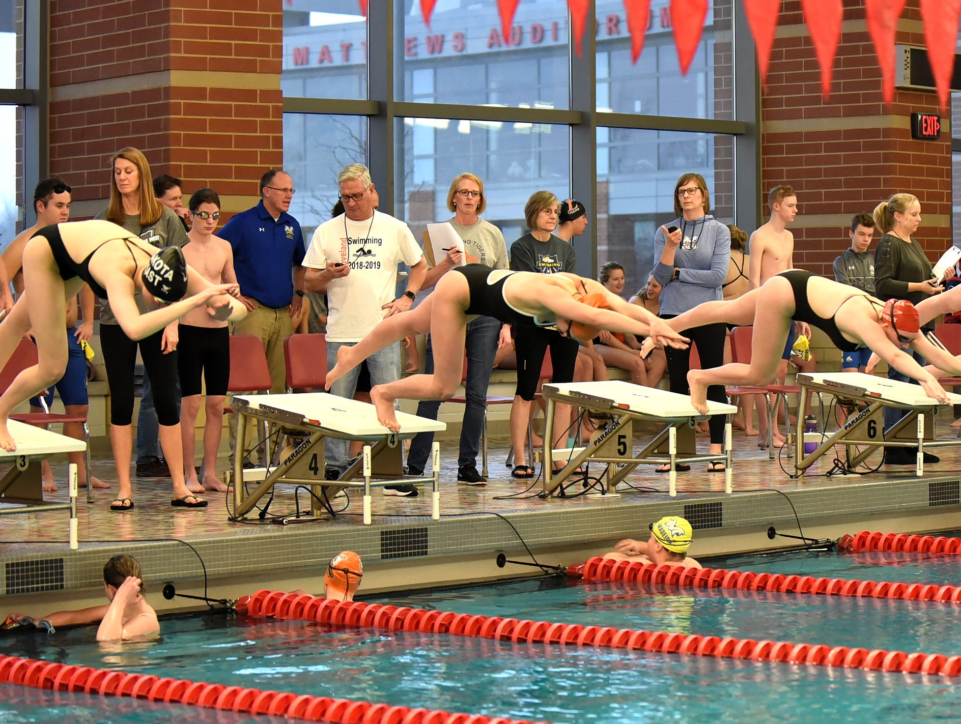 Ladies leave their marks at Princeton in the 200 freestyle at the Southwest Ohio Swimming and Diving Classic, January 19, 2019.