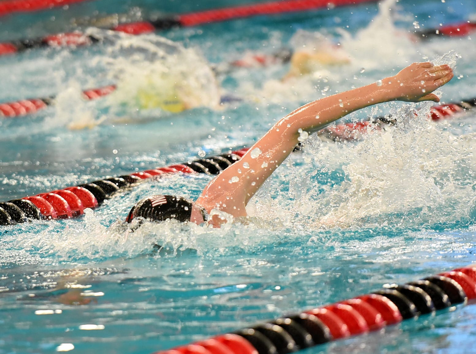 William Taylor of Indian Hill heads to the wall in the final heat of the boys 200 freestyle at the Southwest Ohio Swimming and Diving Classic, January 19, 2019.