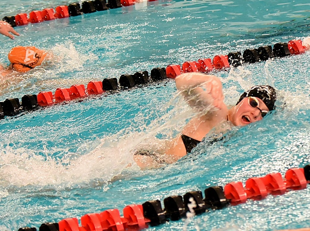 Hannah Cech of Lakota East powers through the girls 200 freestyle during preliminary swimming at the Southwest Ohio Swimming and Diving Classic, January 19, 2019.