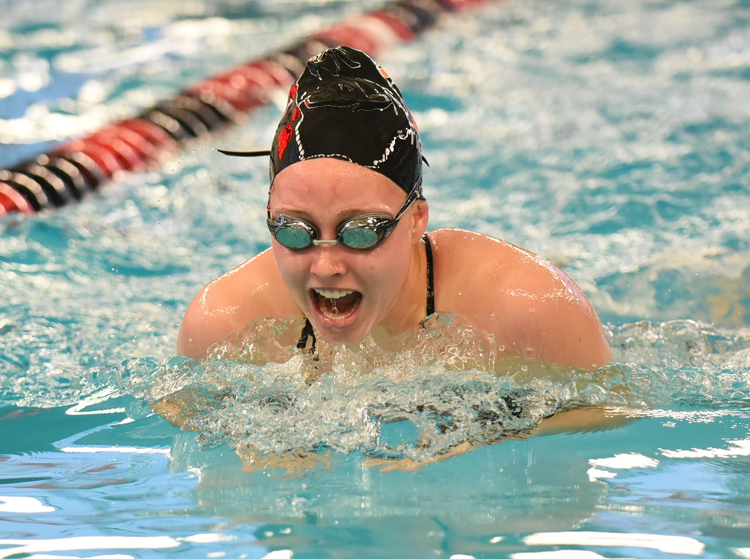 Sarah Lolli of Loveland eyes the half way mark in the final heat of the girls 100 IM at the Southwest Ohio Swimming and Diving Classic, January 19, 2019.