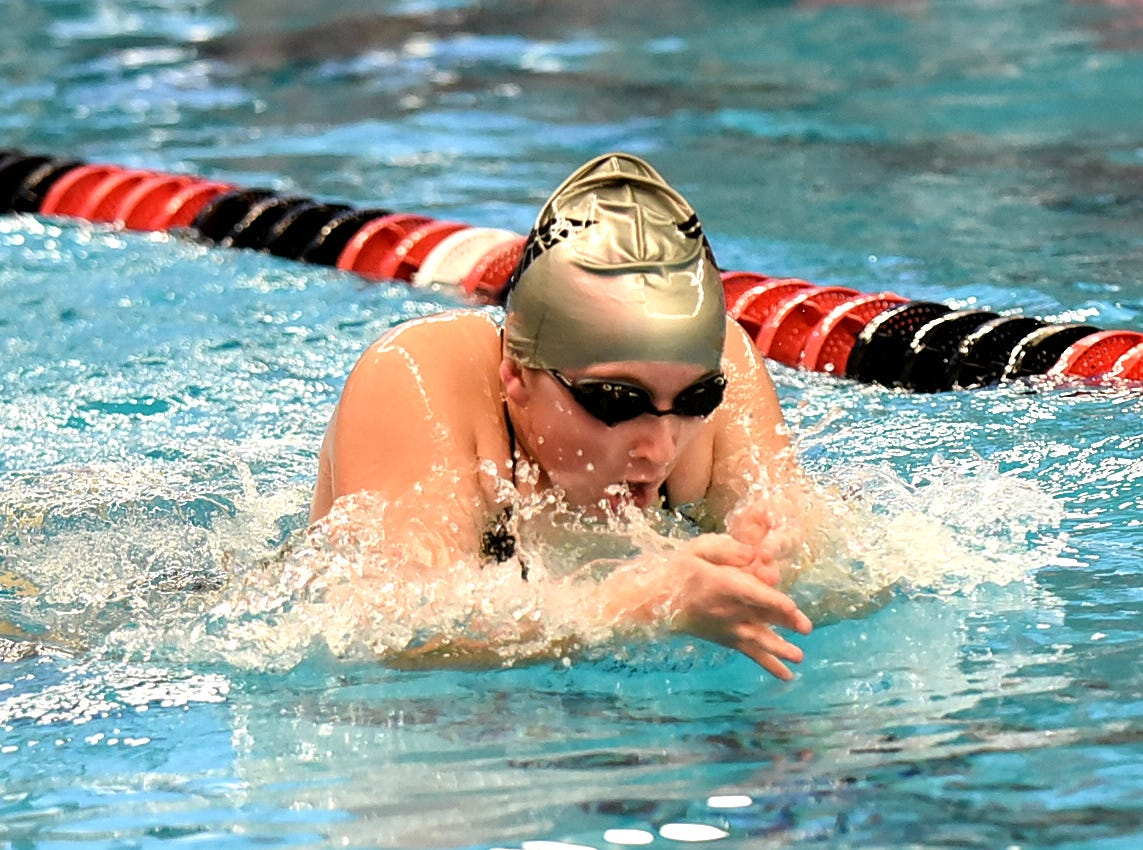 Sophia Smolyansky powers through the breaststroke for Lakota East in the girls 400 medley at the Southwest Ohio Swimming and Diving Classic, January 19, 2019.