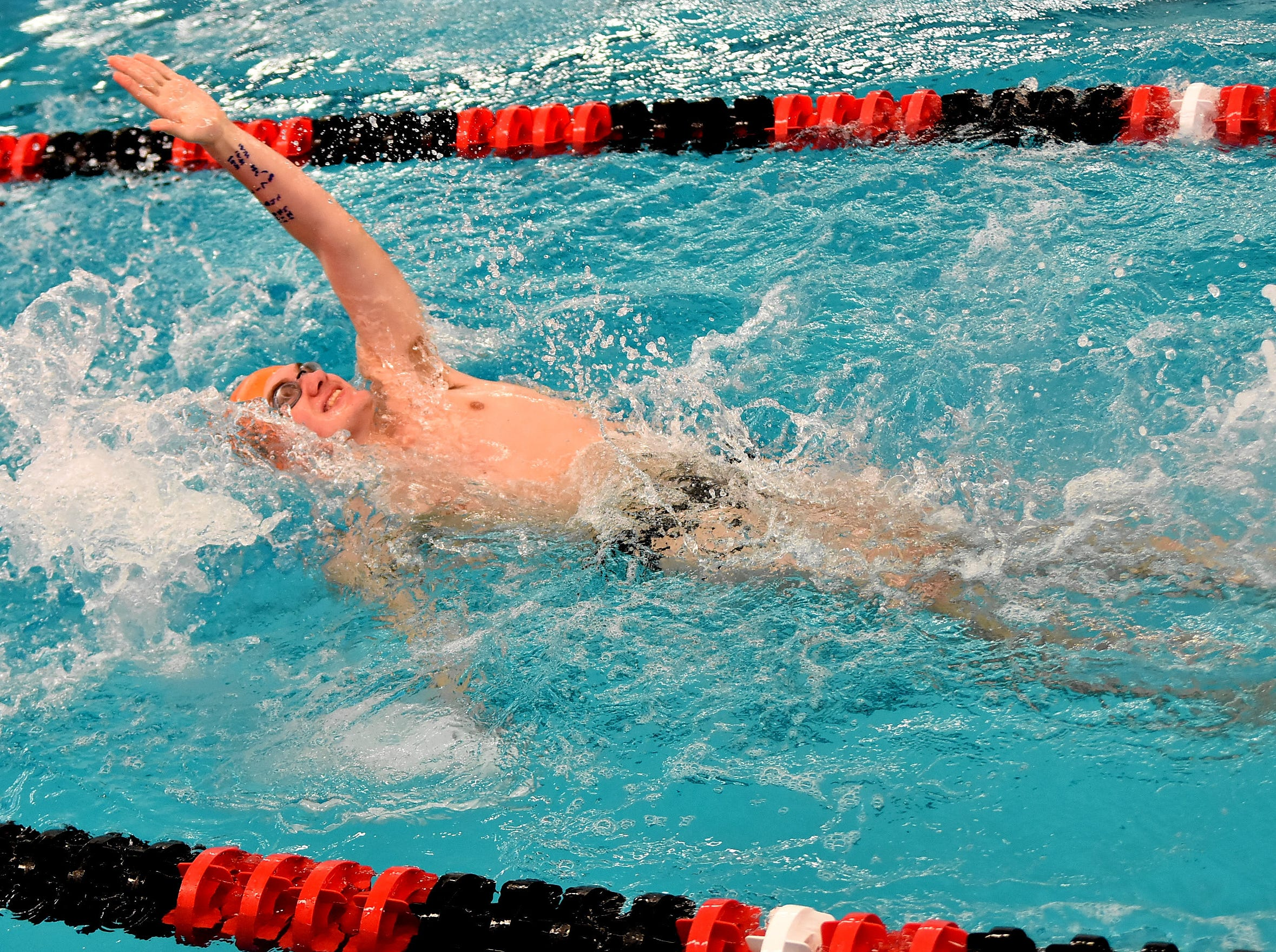 Sam Moody of Anderson powers through the backstroke at the Southwest Ohio Swimming and Diving Classic, January 19, 2019.