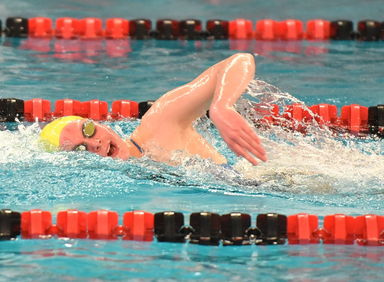 Emma Fortman swims for Madeira in the girls 200 freestyle preliminaries at the Southwest Ohio Swimming and Diving Classic, January 19, 2019.