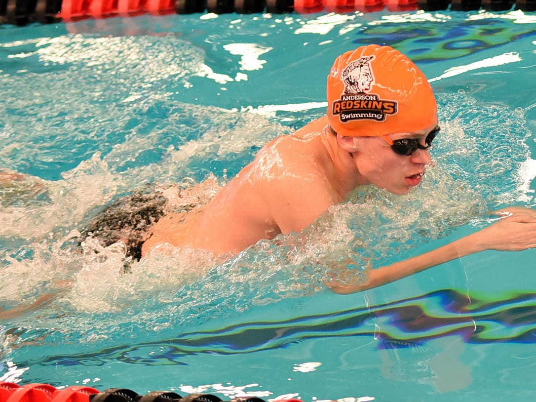Glyn Williams of Anderson heads to the finish line of the boys 50 breaststroke at the Southwest Ohio Swimming and Diving Classic, January 19, 2019.