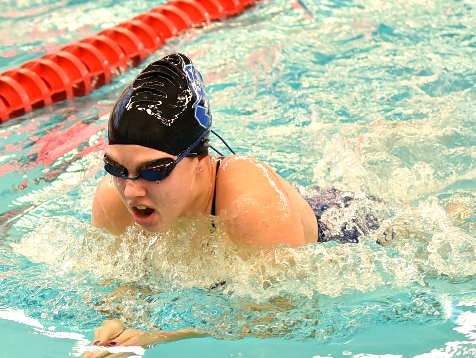 Maliah Bricking of Summit Country Day swims in the girls 50-yard breaststroke preliminaries at the Southwest Ohio Swimming and Diving Classic, January 19, 2019.