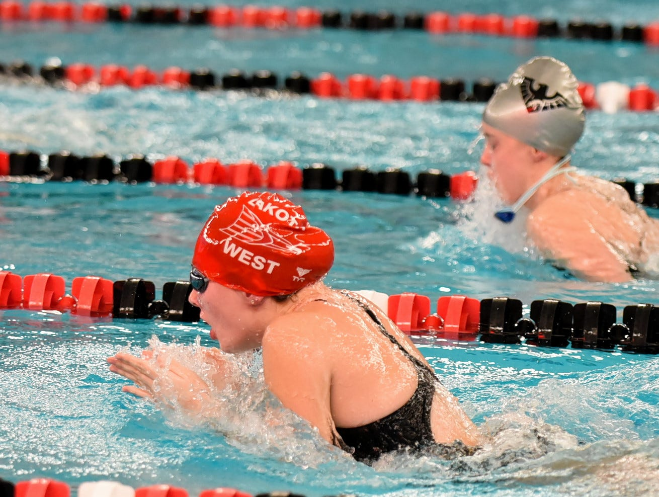 Corrine Johnston swims for Lakota West in the girls 400 medley at the Southwest Ohio Swimming and Diving Classic, January 19, 2019.