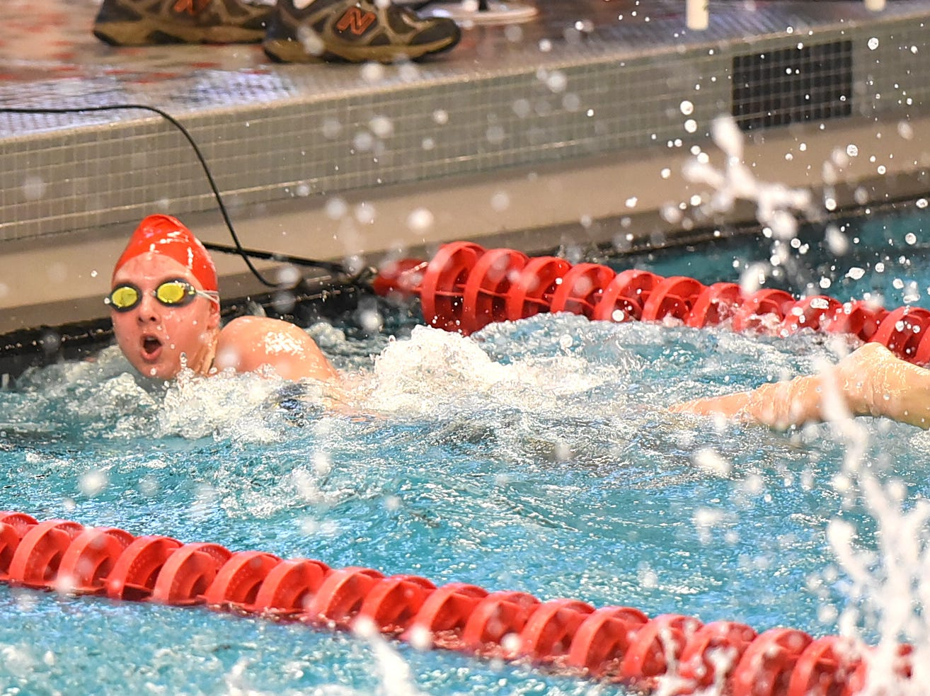 Page Striley of Lakota West brings it home in the final heat of the girls 50 freestyle at the Southwest Ohio Swimming and Diving Classic, January 19, 2019.