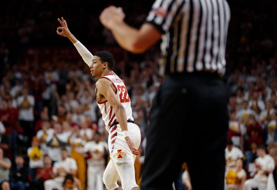 Iowa State guard Tyrese Haliburton celebrates a 3-point basket against Oklahoma State during the first half of an NCAA college basketball game, Saturday, Jan. 19, 2019, in Ames.