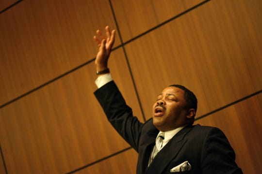 "Rudy Barker of Detroit is pictured at the Southfield Library  in 2006 re-enacting Dr. Martin Luther King Jr.'s most-famous speech, ""I Have A Dream.""  Barker died Jan. 6 at age 62 and will be buried on Monday, Martin Luther King Day."