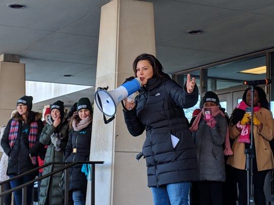 Gov. Gretchen Whitmer speaks at an MSU women's march on Jan. 20, 2019.