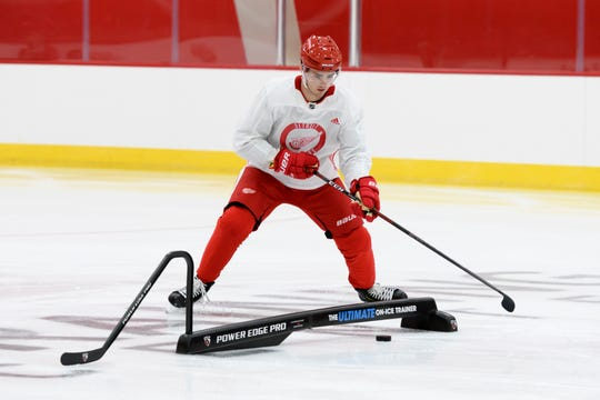 """""""Keep the puck a little more and create a play,"""" Filip Zadina says of one part of his game that needs attention."""