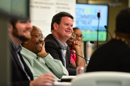 Tallahassee mayor John Dailey, center, and memebrs of the City Commission met for their annual retreat at the Smith-Williams Center Annex on Wednesday.