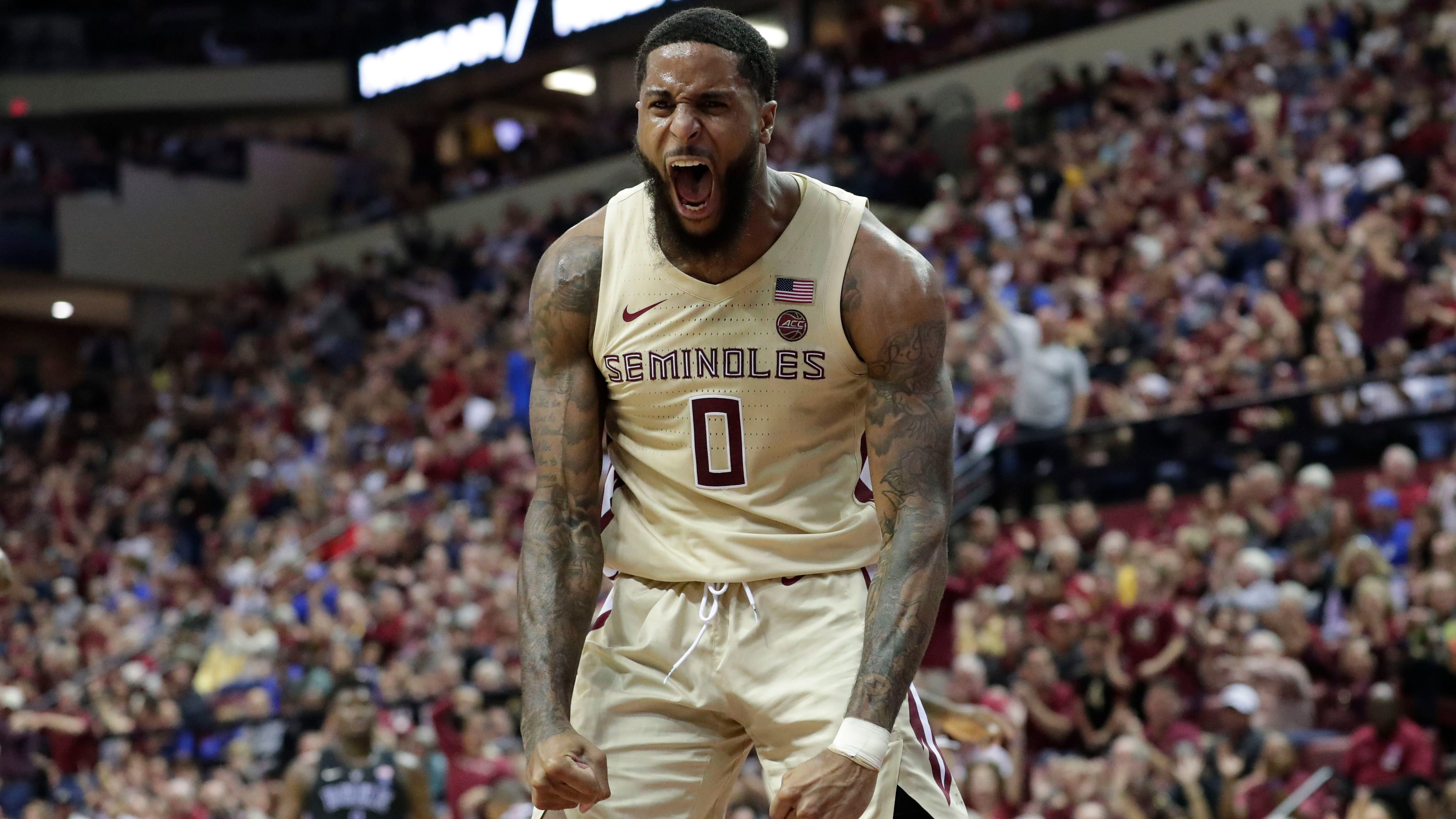 Ranked 13 in the ACC, the Florida State Seminoles host the number 1 team, the Duke Blue Devils, at the Tucker Civic Center, Saturday, Jan. 12, 2019. Florida State Seminoles forward Phil Cofer (0) celebrates a dunk.   Alicia Devine/Democrat Ranked 13 in the ACC, the Florida State Seminoles host the number 1 team, the Duke Blue Devils, at the Tucker Civic Center, Saturday, Jan. 12, 2019. Florida State Seminoles forward Phil Cofer (0) celebrates a dunk.