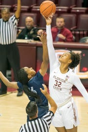 Florida State freshman forward Valencia Myers is averaging 9.2 points and 7 rebounds per game this season.