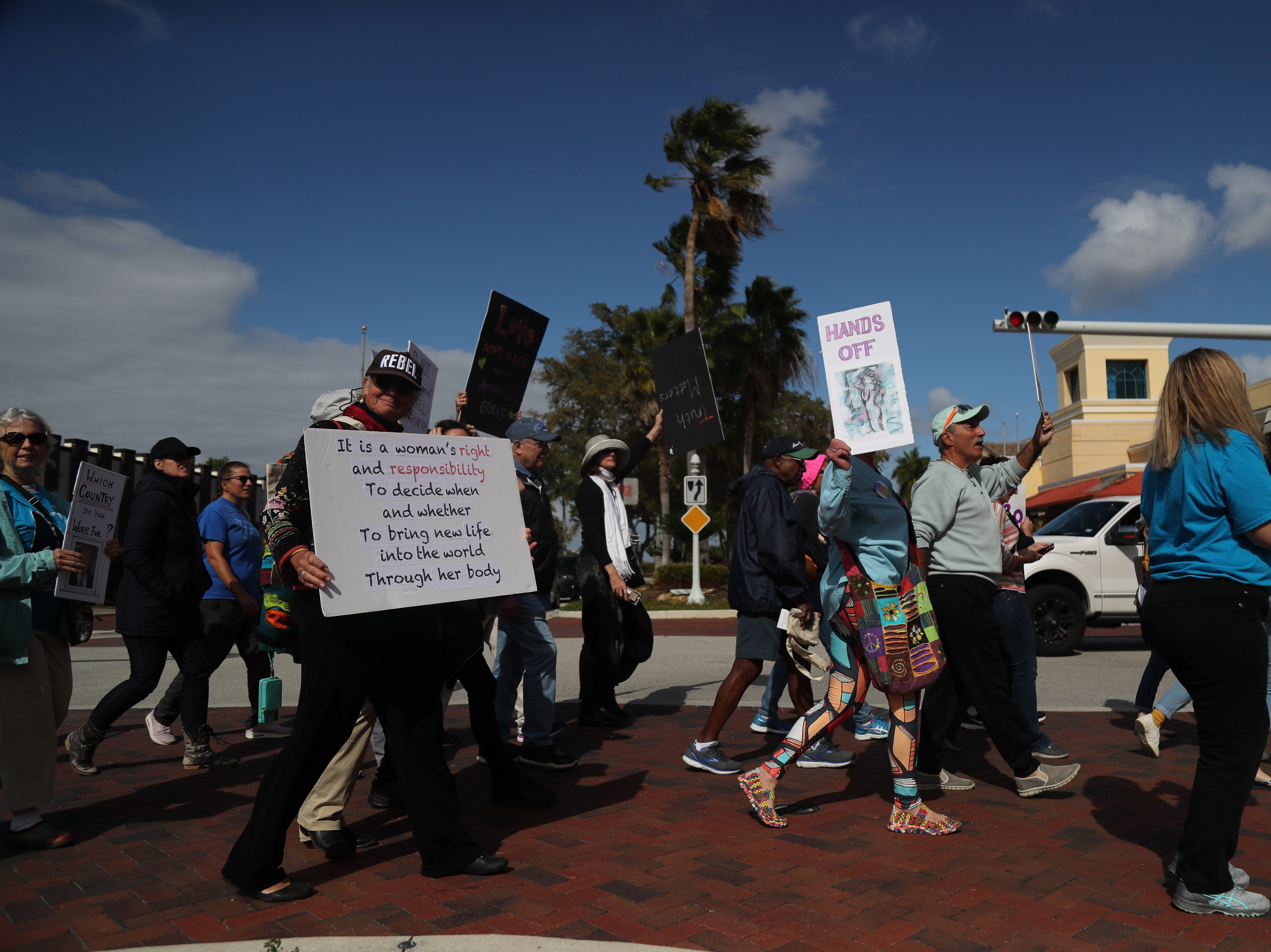 About 400 people came out for the 2019 Fort Myers Women's March in downtown Fort Myers on Sunday, Jan. 20, 2019.