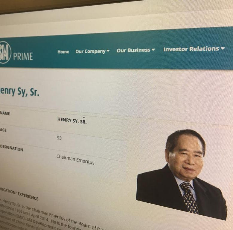 Henry Sy, owner of Agana Shopping Center, has died