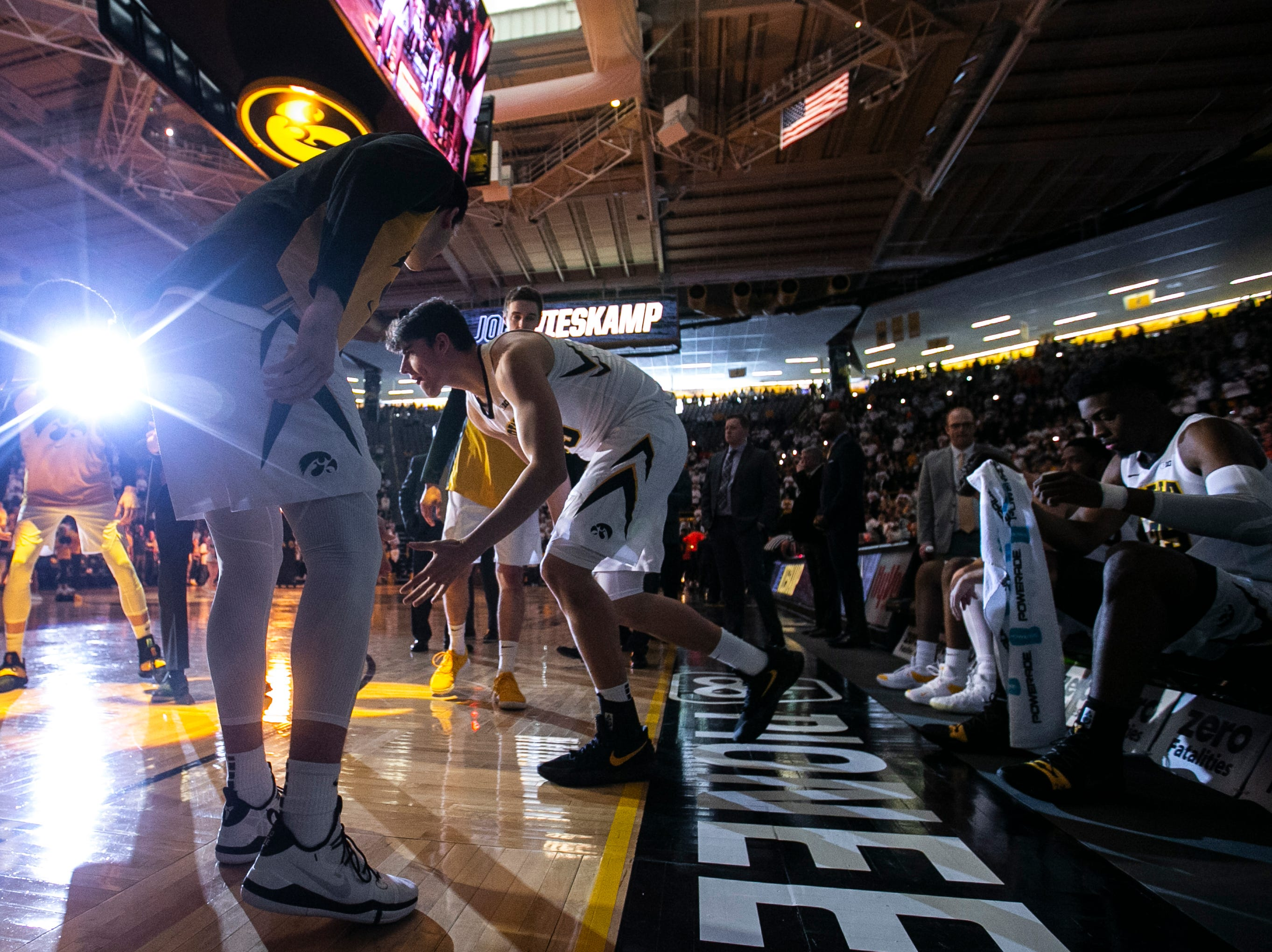 Iowa forward Luka Garza (55) is introduced during a NCAA Big Ten Conference men's basketball game on Sunday, Jan. 20, 2019, at Carver-Hawkeye Arena in Iowa City, Iowa.
