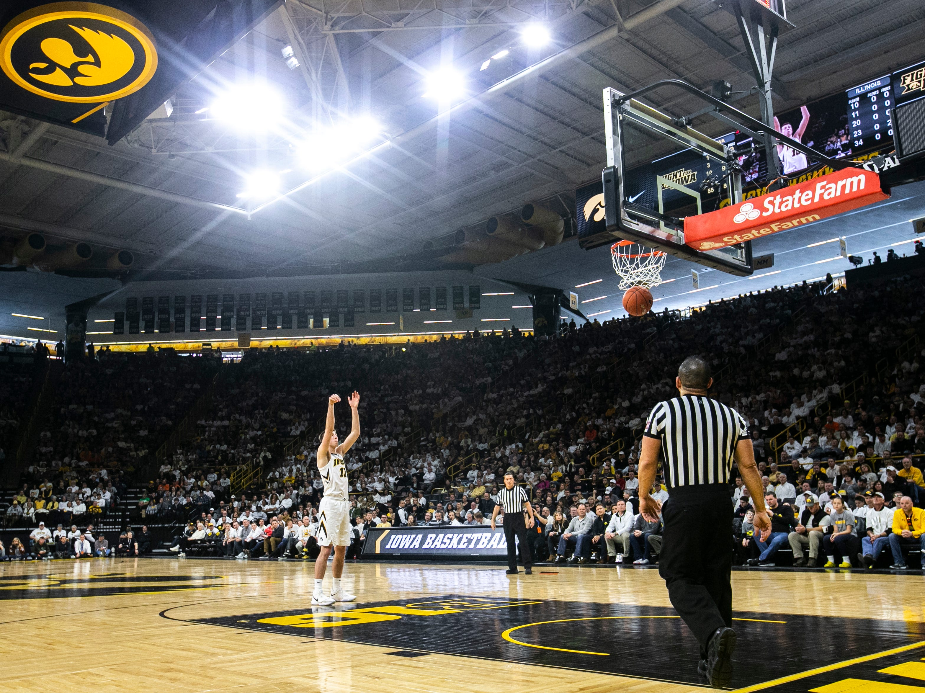 Iowa guard Joe Wieskamp (10) shoots a free-throw during a NCAA Big Ten Conference men's basketball game on Sunday, Jan. 20, 2019, at Carver-Hawkeye Arena in Iowa City, Iowa.