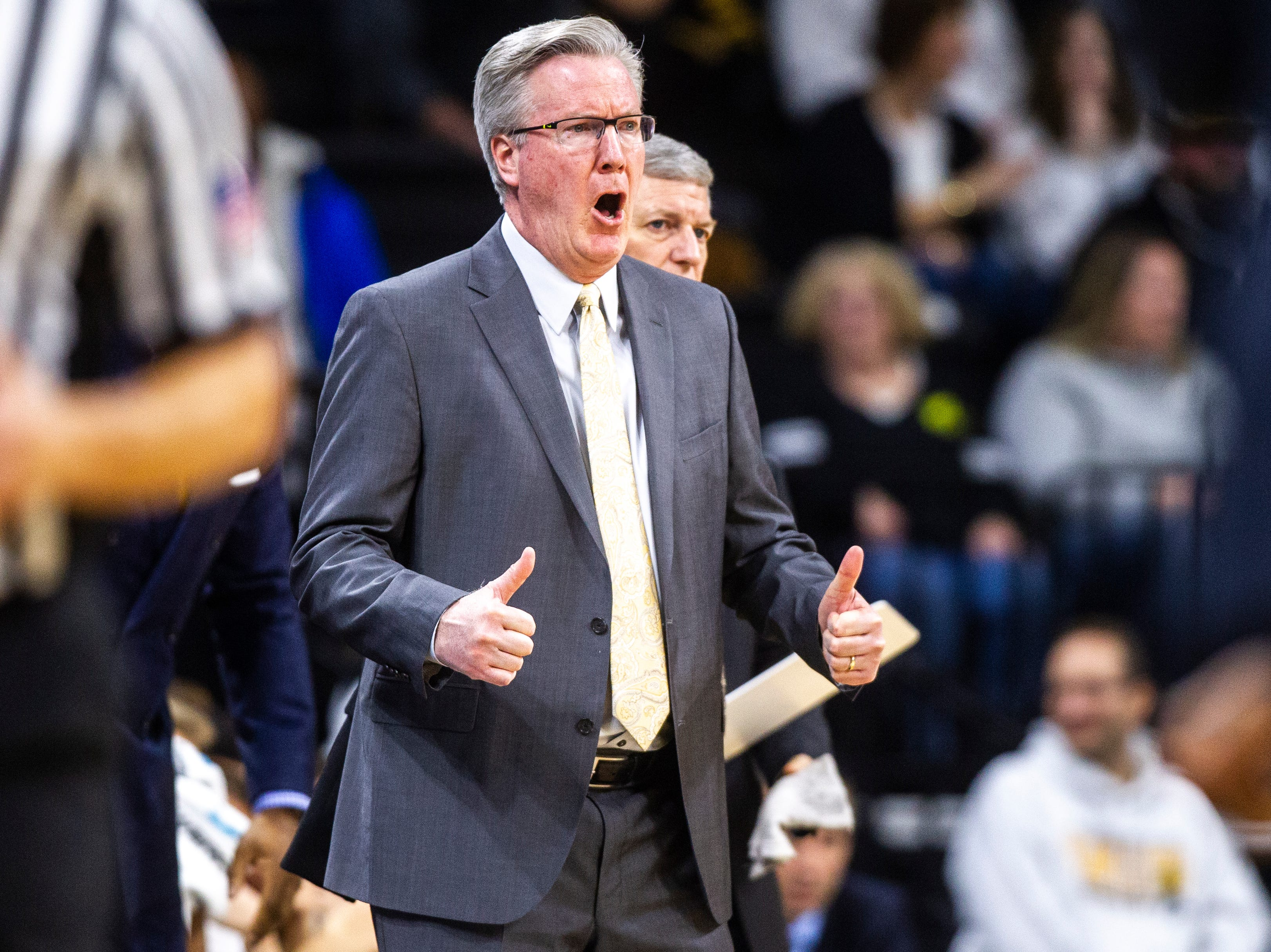 "Iowa men's basketball head coach Fran McCaffery calls out ""Jump ball"" during a NCAA Big Ten Conference men's basketball game on Sunday, Jan. 20, 2019, at Carver-Hawkeye Arena in Iowa City, Iowa."