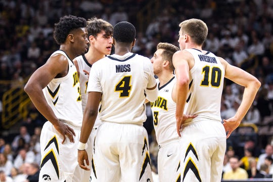 Iowa needs to rely more heavily on its starting five of (clockwise, from left) Tyler Cook, Luka Garza, Jordan Bohannon, Joe Wieskamp and Isaiah Moss.