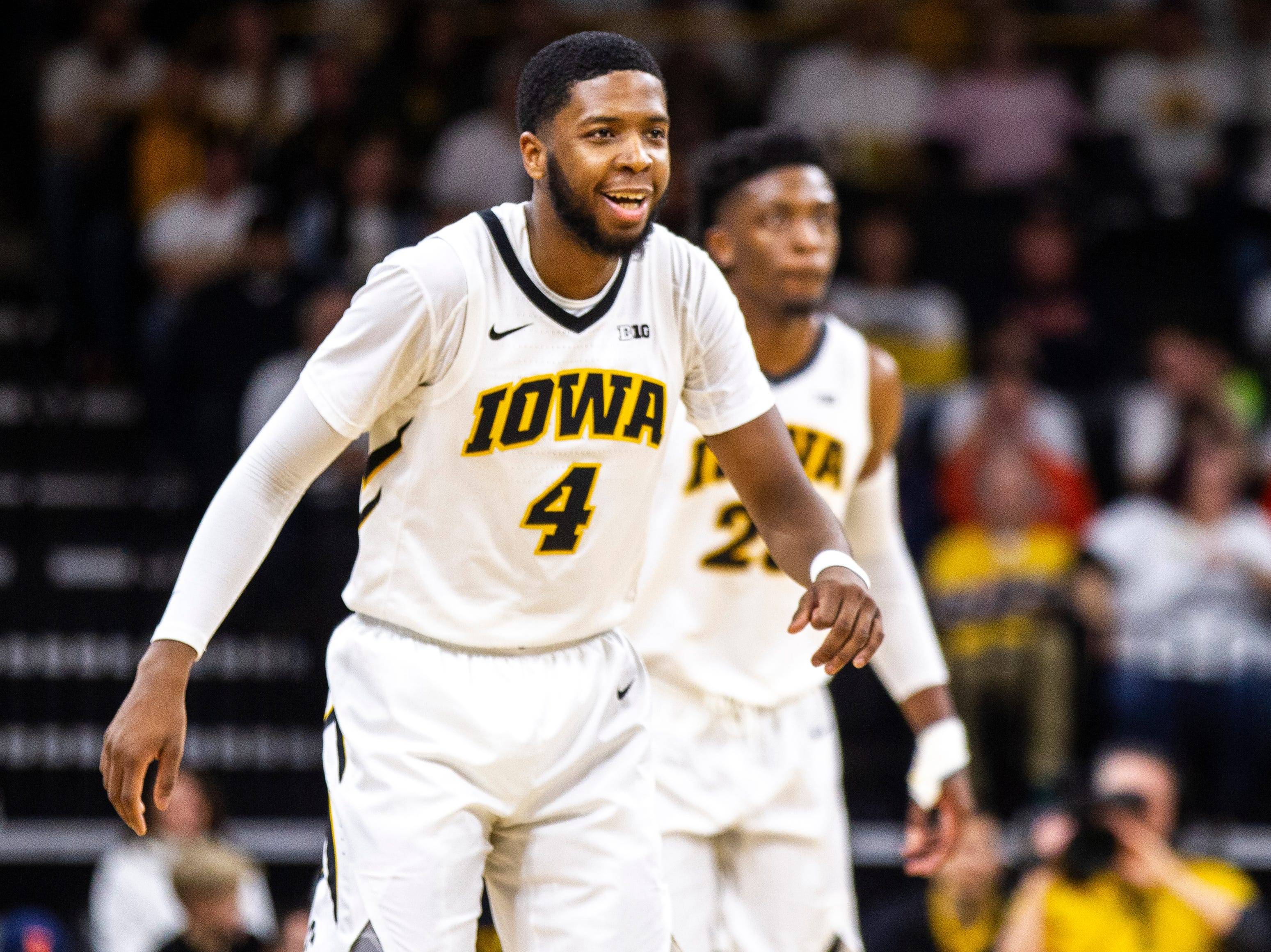 Iowa guard Isaiah Moss (4) smiles during a NCAA Big Ten Conference men's basketball game on Sunday, Jan. 20, 2019, at Carver-Hawkeye Arena in Iowa City, Iowa.