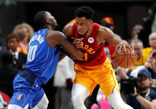 Indiana Pacers forward Thaddeus Young (21) backs down Dallas Mavericks forward Dorian Finney-Smith (10) in the second half of their game at Bankers Life Fieldhouse Saturday, Jan. 19, 2019. The Indiana Pacers defeated the Dallas Mavericks 111-99.