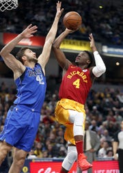 Indiana Pacers guard Victor Oladipo (4) shoots over Dallas Mavericks forward Maximilian Kleber (42) in the first half of their game at Bankers Life Fieldhouse Saturday, Jan. 19, 2019.