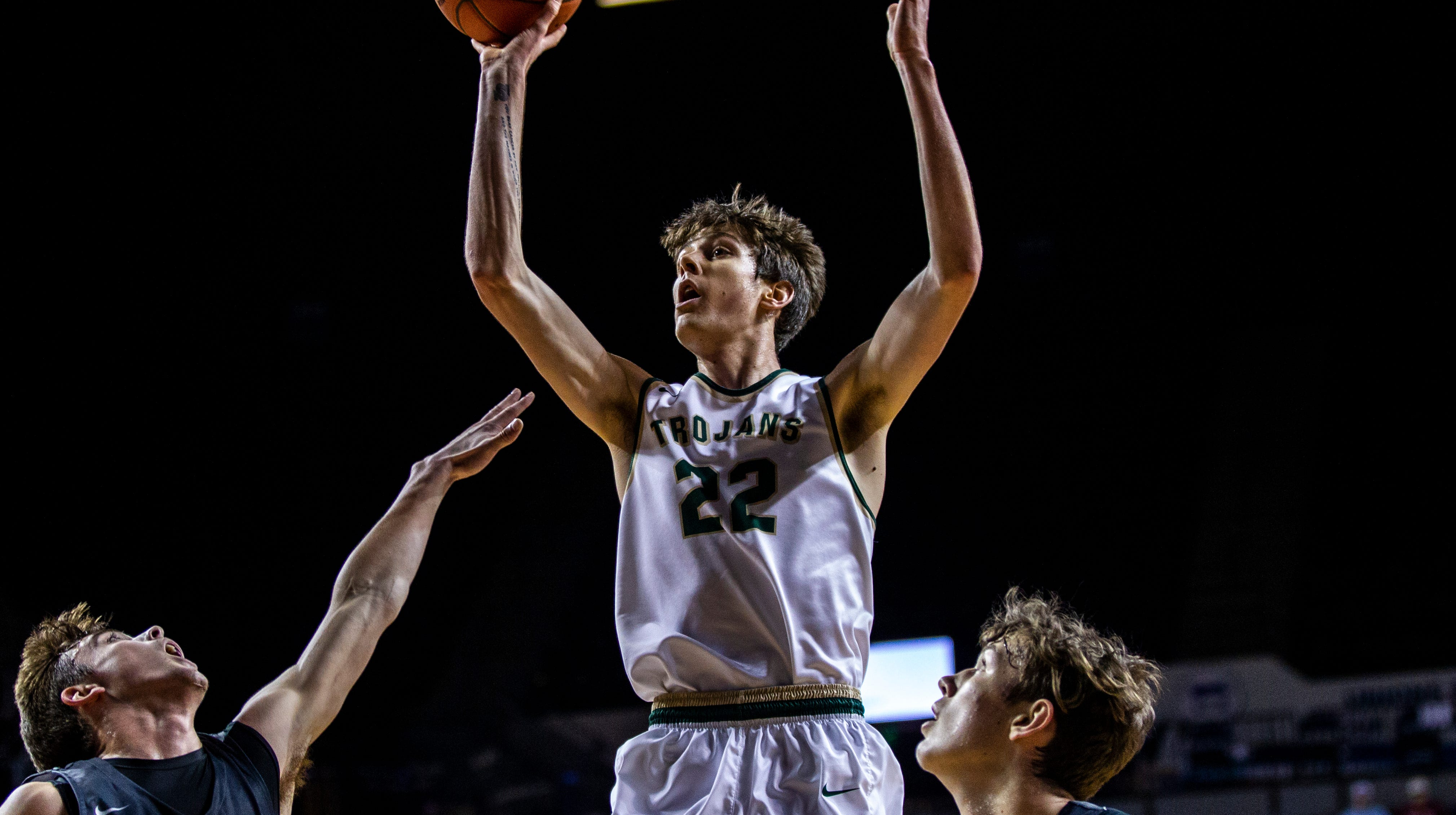 Iowa City West's Patrick McCaffery (22) attempts a basket during a boys' basketball game in the Wells Fargo Advisors Shootout on Saturday, Jan. 19, 2019, at the U.S. Cellular Center in Cedar Rapids, Iowa.