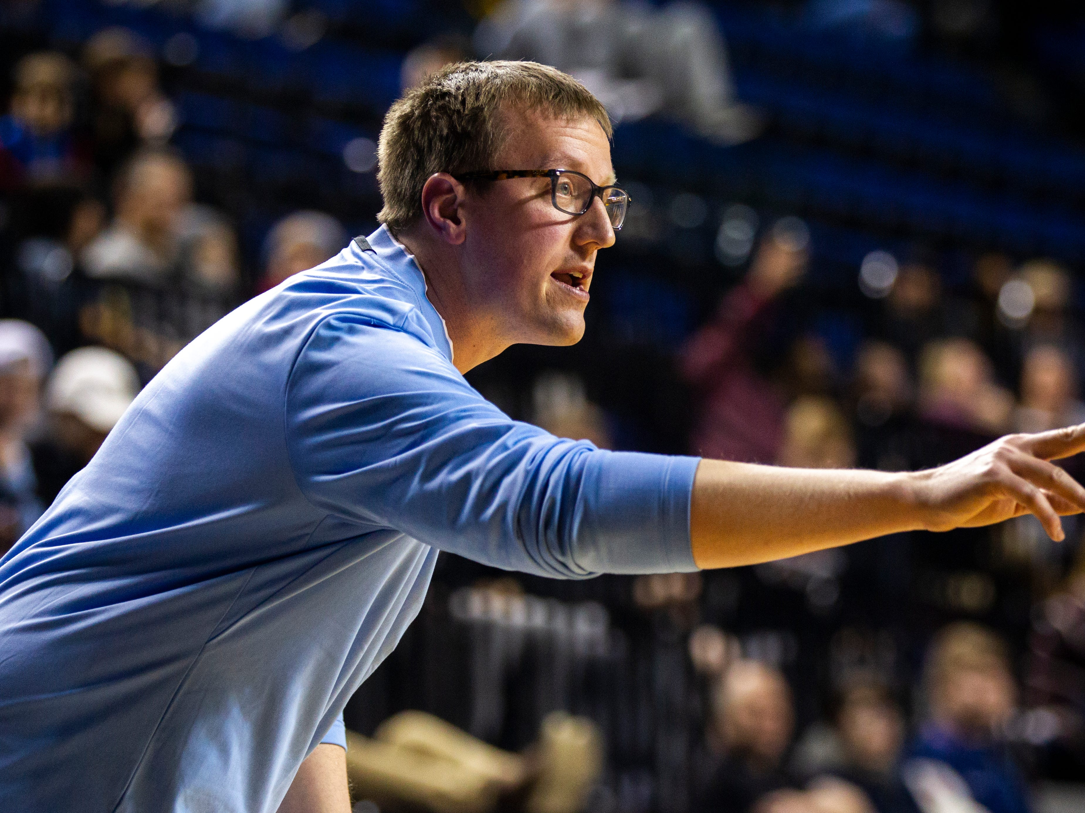 Cedar Rapids Jefferson head coach Brandon Horman calls out to players during a boys' basketball game in the Wells Fargo Advisors Shootout on Saturday, Jan. 19, 2019, at the U.S. Cellular Center in Cedar Rapids, Iowa.