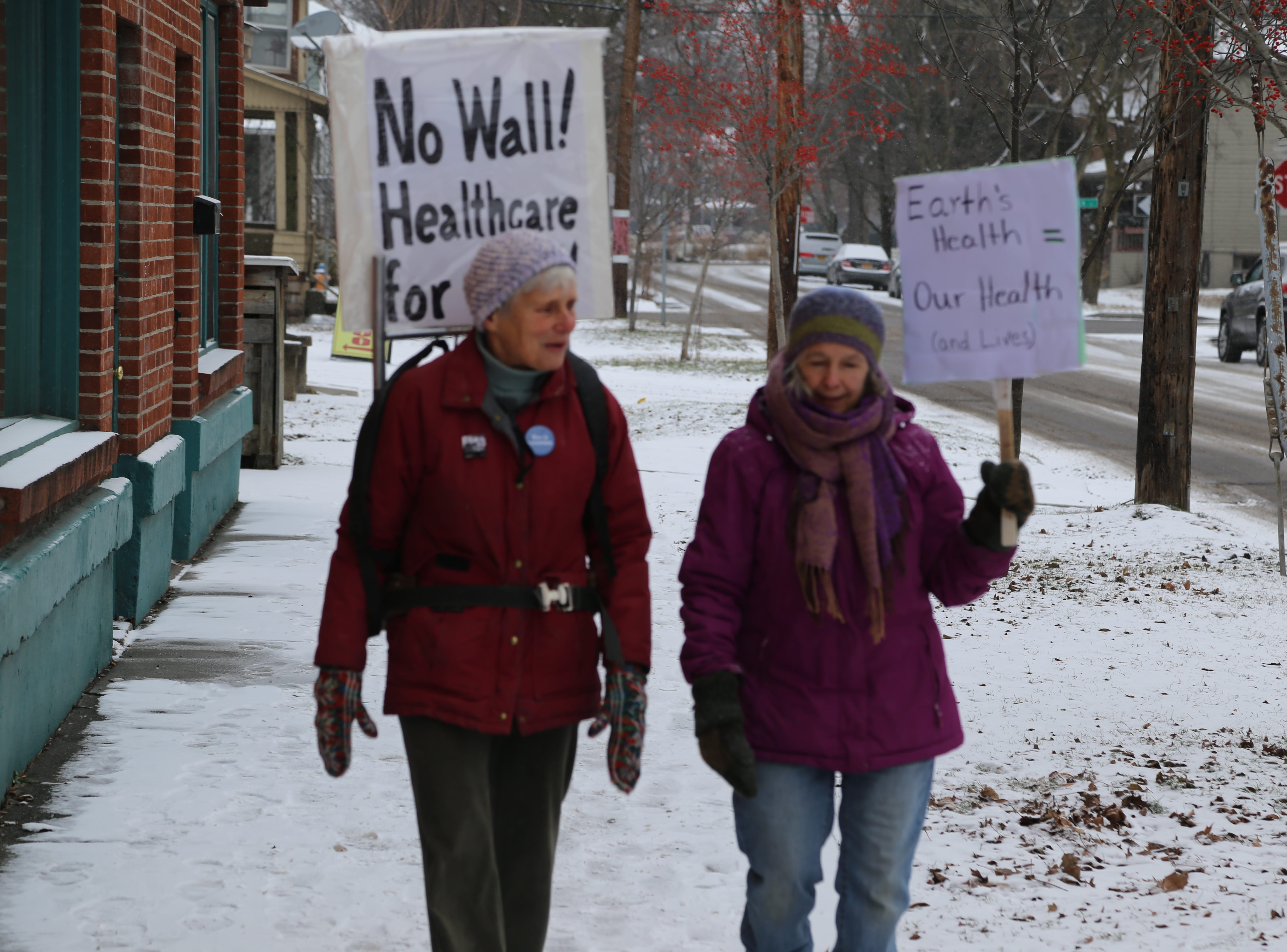 Two women who wanted to participate in Women March in Seneca Falls on Saturday decided to march in Ithaca instead because they did not want to drive through the snow.