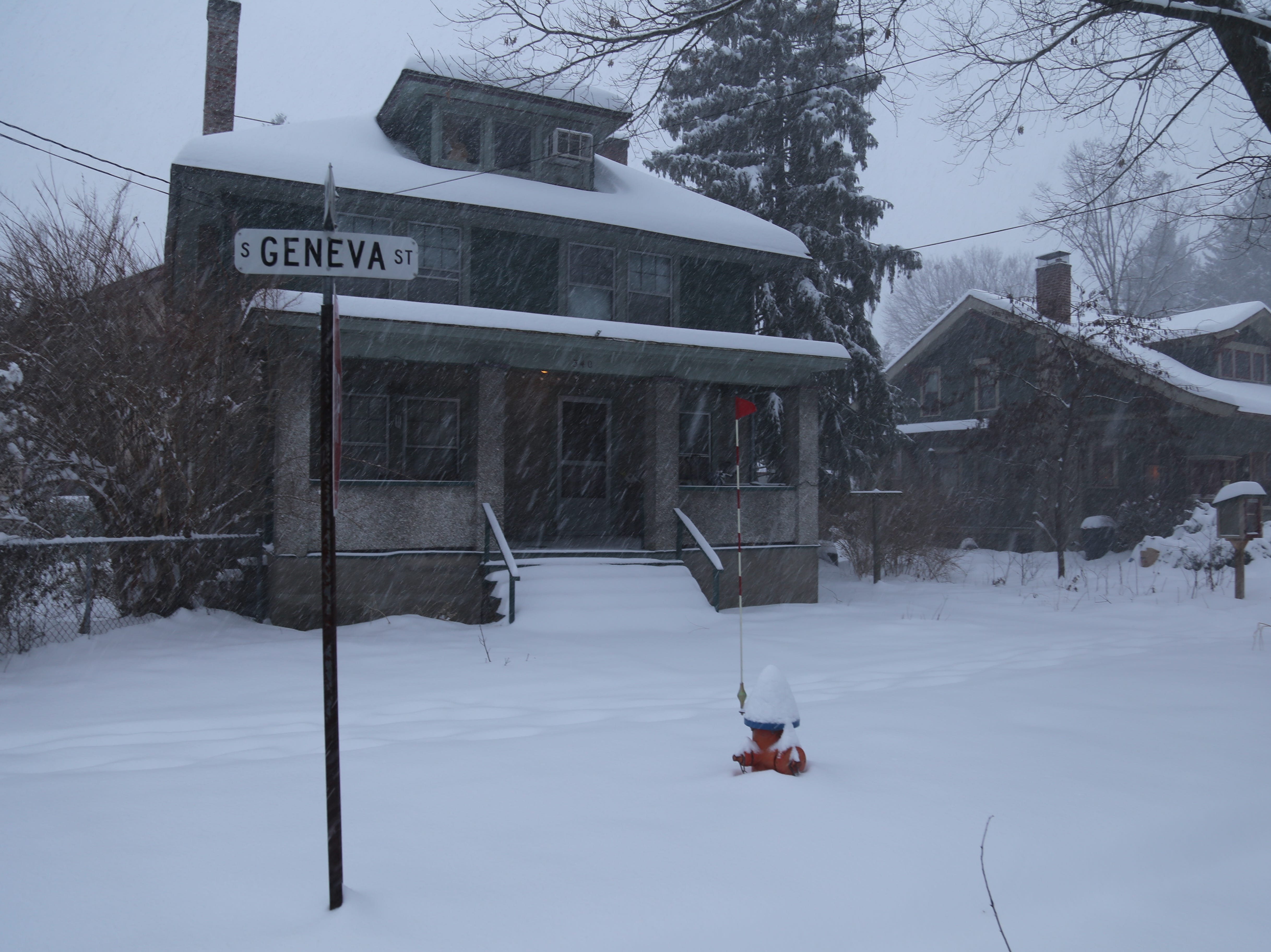 Sunday snowfall in Ithaca as a winter storm hit the Southern Tier.