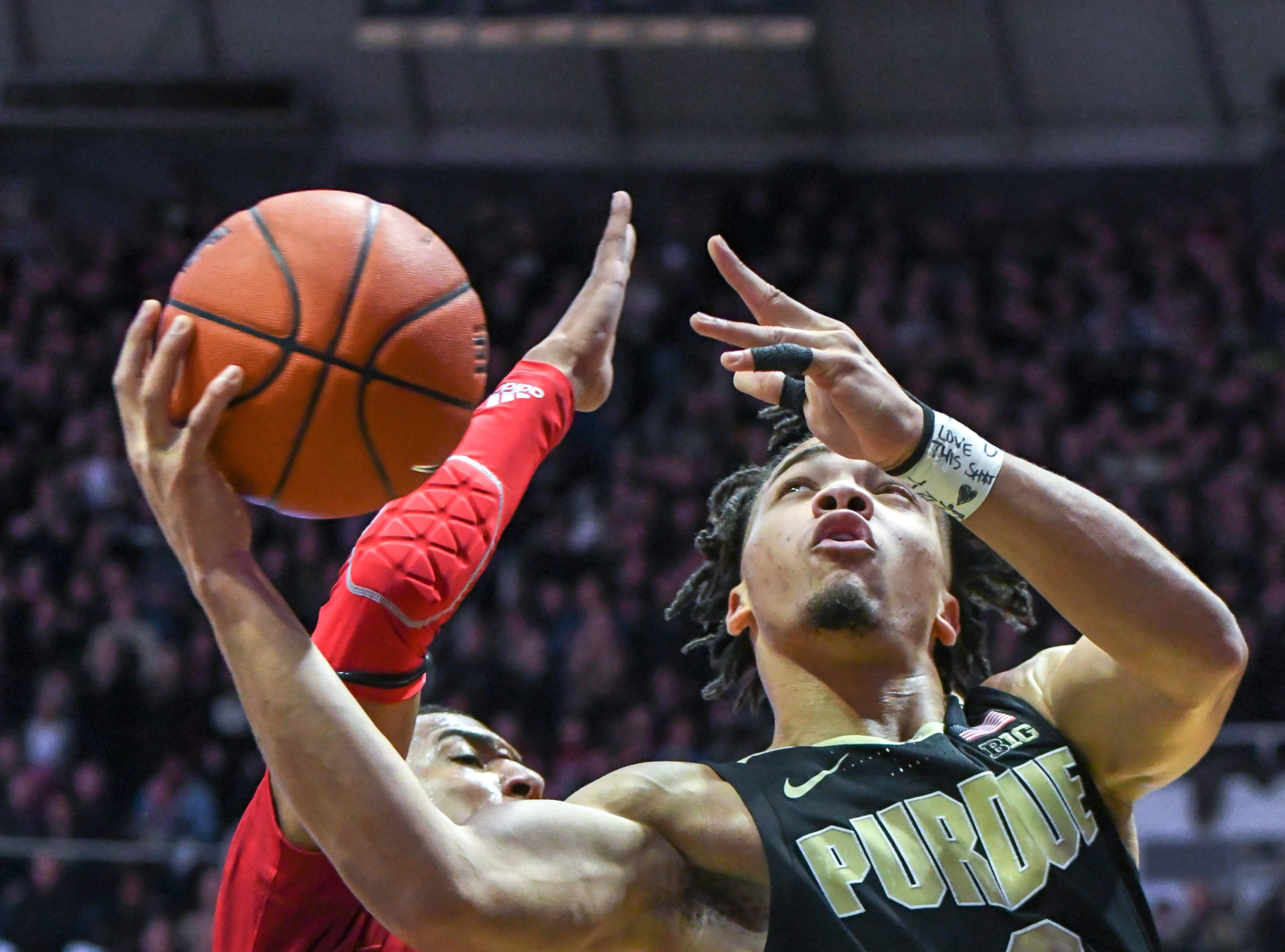 Purdue's Carsen Edwards drives for a score during the second half against Indiana University on January 19, 2019. Purdue won the game 70-55.