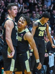 Purdue's Grady Eifert, left, and Carsen Edwards celebrate an Eifert score during the second half against Indiana University on January 19, 2019. Purdue won the game 70-55.