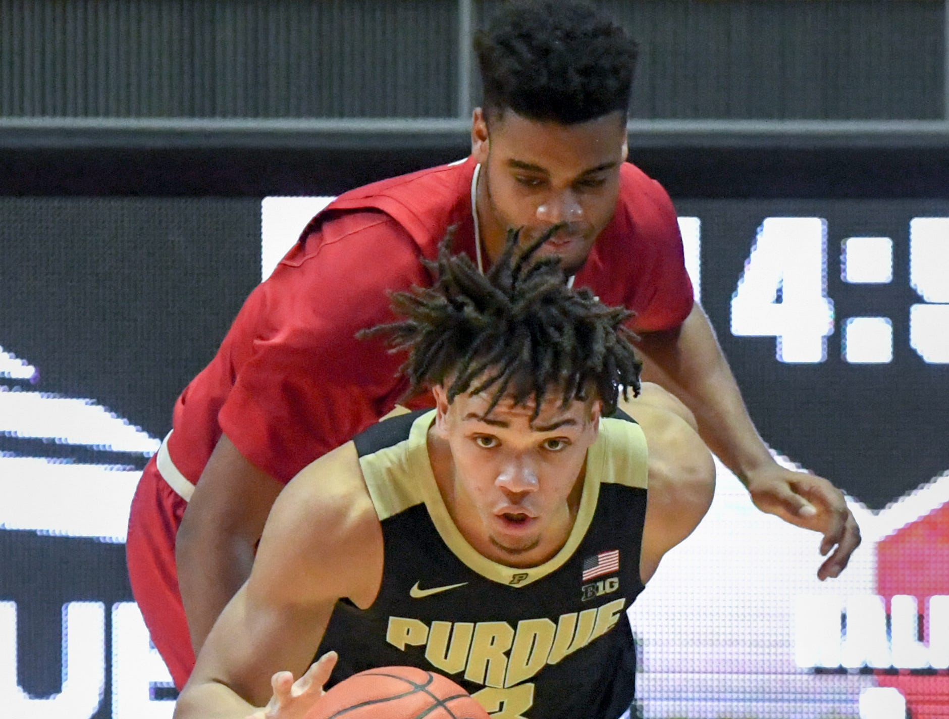 Action from Purdue against Indiana University on January 19, 2019. Purdue won the game 70-55 in West Lafayette. Carsen Edwards