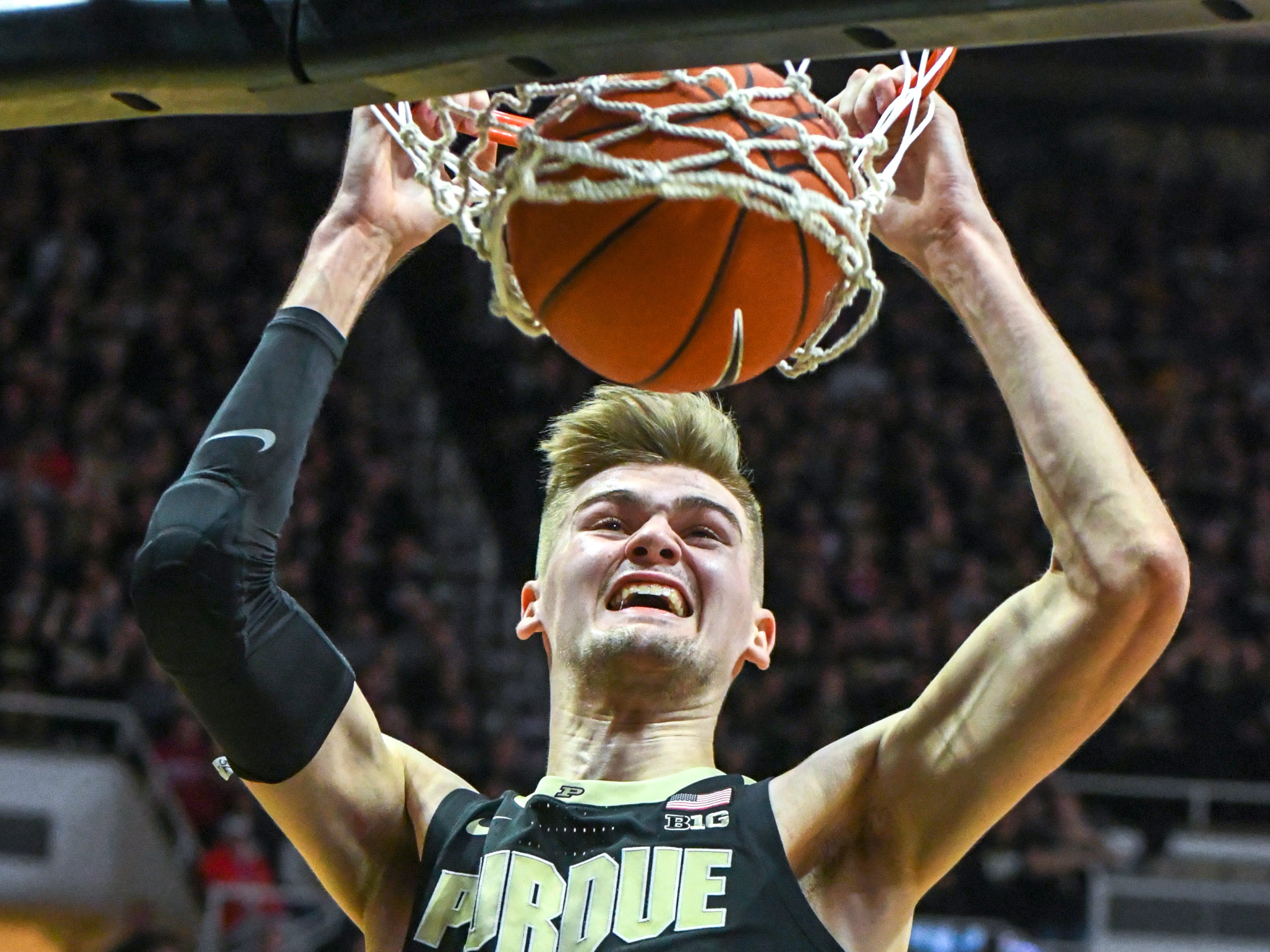 Action from Purdue against Indiana University on January 19, 2019. Purdue won the game 70-55 in West Lafayette. Matt Haarms