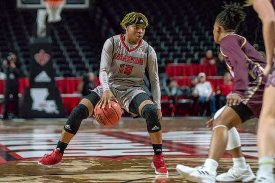 UL's Diamond Morrison reached double figures again with a team-high 12 points in Saturday's 76-58 loss to Coastal Carolina at the Cajundome.