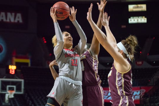 UL's Kendall Bess, shown here earlier this season against ULM, again displayed the ability to score around the basket in the Cajuns' 73-55 win over Appalachian State on Thursday.