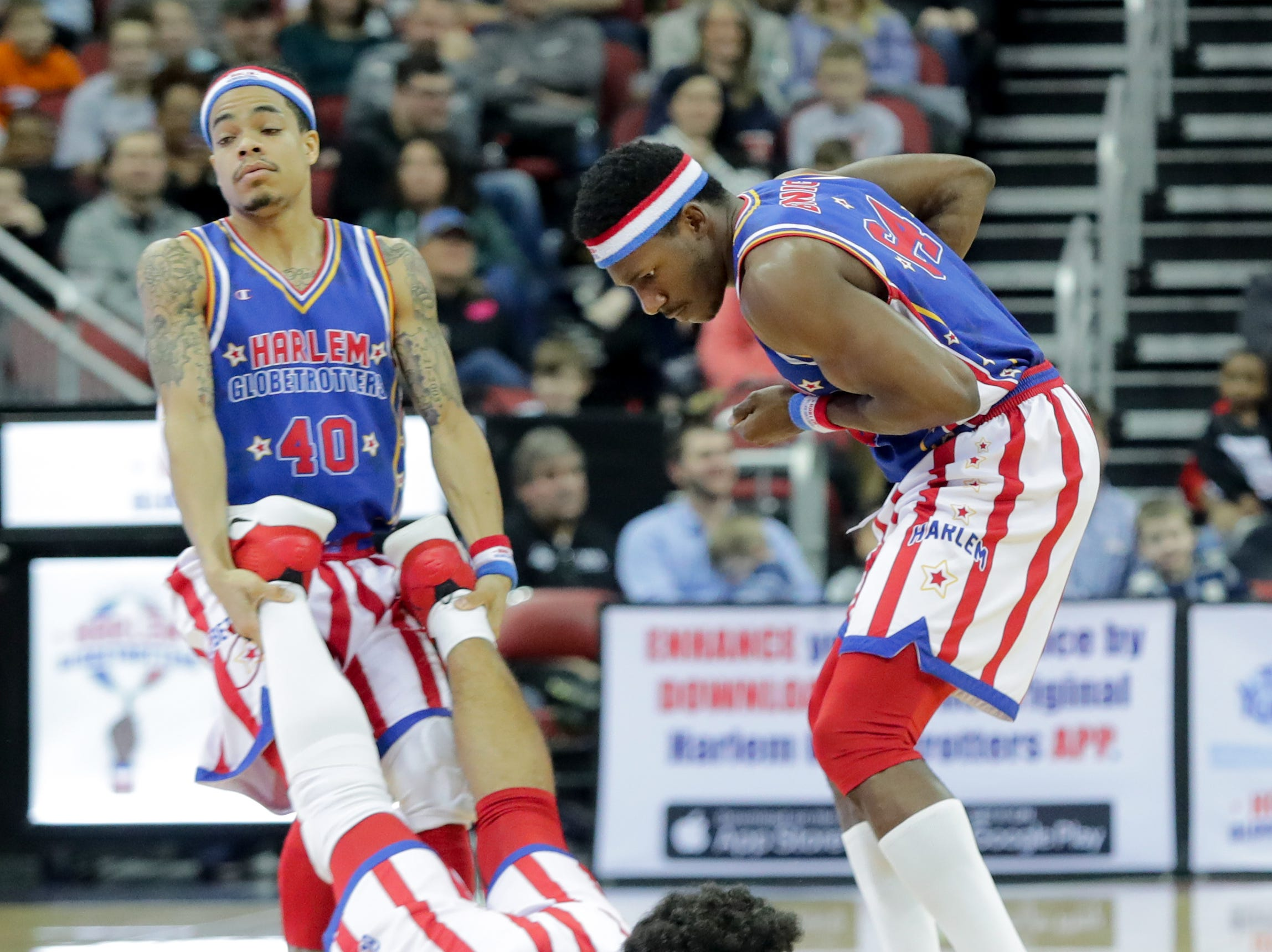 Harlem Globetrotters' Sweet Lou II is brought back to the bench. Jan. 19, 2019