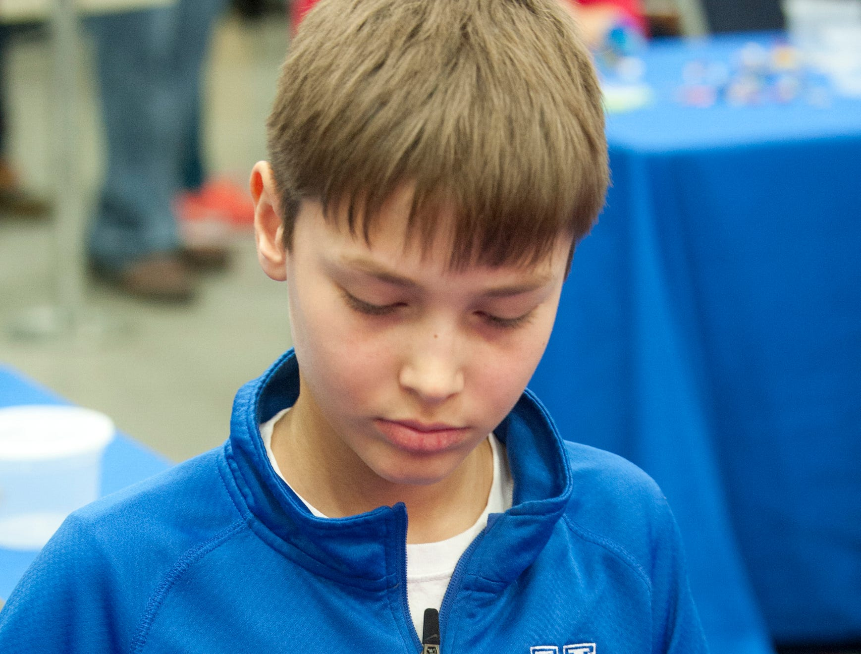 During a Lego Challenge Zone building competition, Clayton Long, 11, of Lake Forest works on a space station.19 January 2019