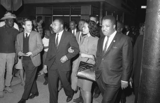 Dr. Martin Luther King in Louisville with his wife, Coretta Scott King and Dr. King's brother A.D. Williams King.