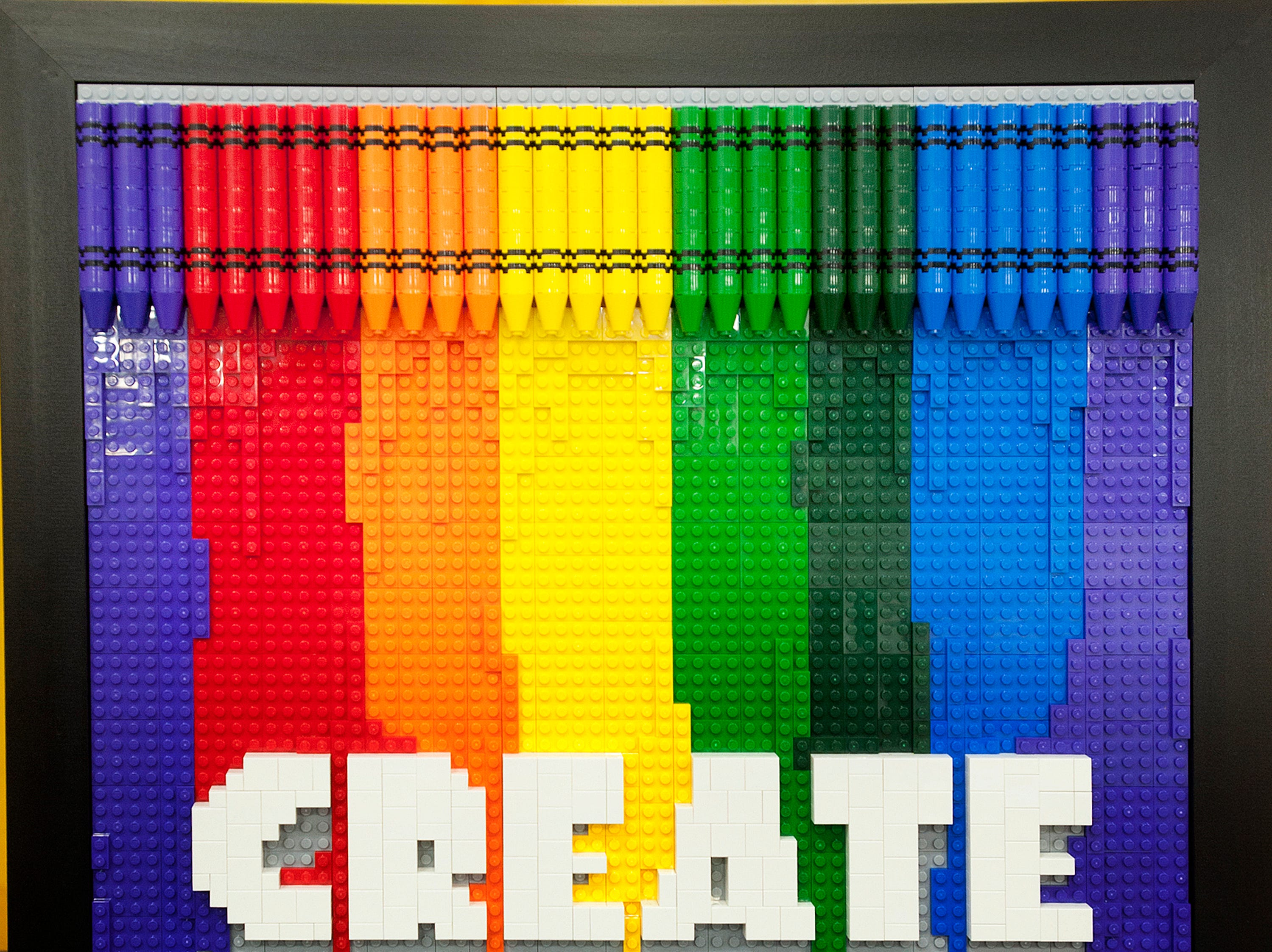 Crayons and colors in a Lego-simulated drawing is on display at the BrickUniverse Lego Fan Convention at the Kentucky International Convention Center in downtown Louisville.19 January 2019