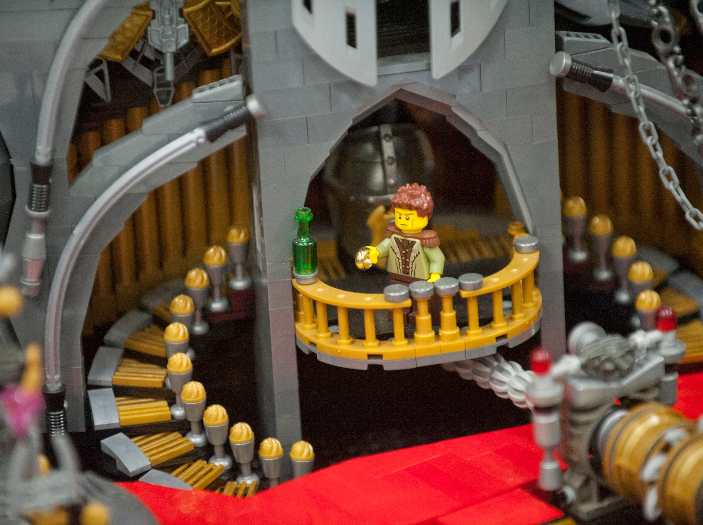 """Detail of the lower part of the work """"Unchain My Heart"""" at the BrickUniverse Lego Fan Convention at the Kentucky International Convention Center in downtown Louisville.19 January 2019"""