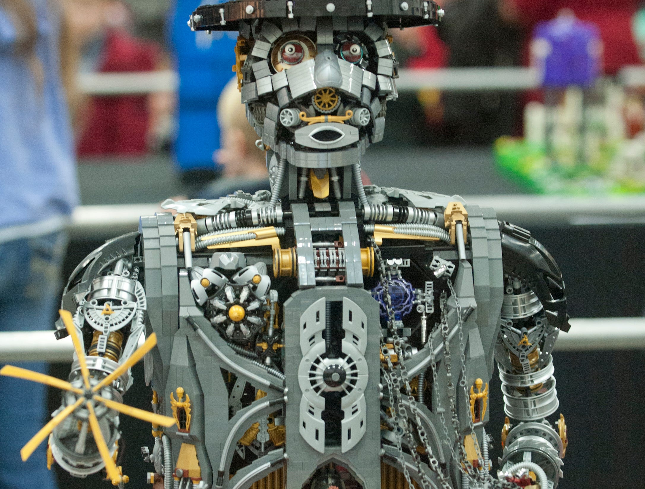 """This steam punk robot made of Legos entitled """"Unchain My Heart"""" was created by Paul Hetherington and is on display at the BrickUniverse Lego Fan Convention at the Kentucky International Convention Center in downtown Louisville. It took Hetherington 18,300  bricks and 230 hours to create the piece of art.19 January 2019"""