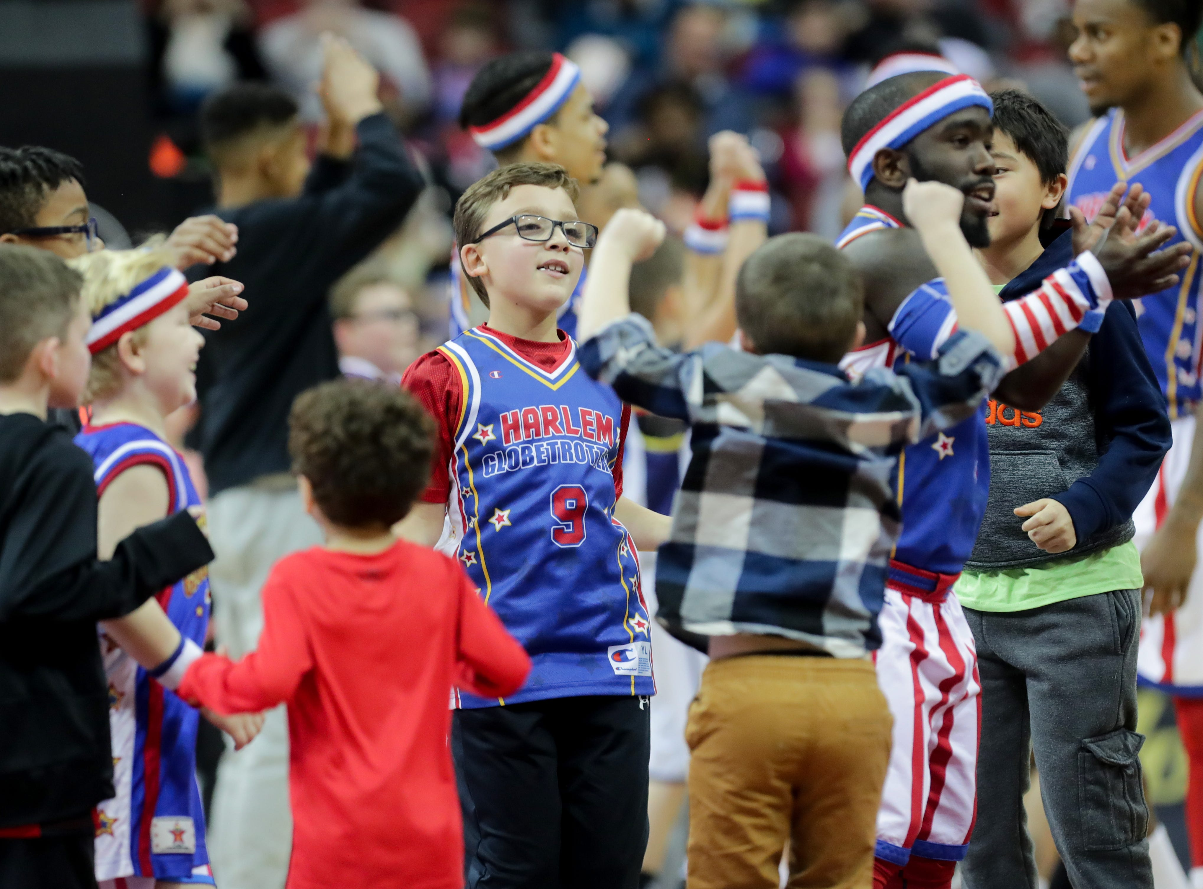Kids had plenty of chances to dance at the Harlem Globetrotters' game. Jan. 19, 2019