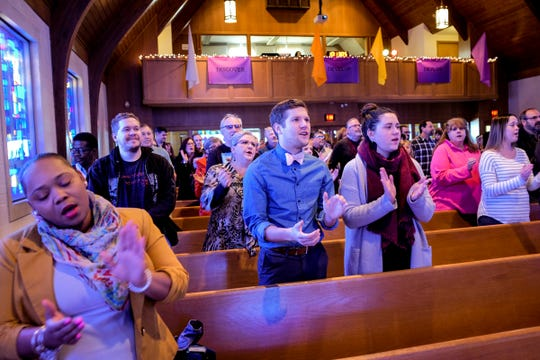 Congegants from Epicenter of Worship and from Sycamore Creek sing praise music together at Epicenter of Worship Sunday, Jan. 20, 2019.