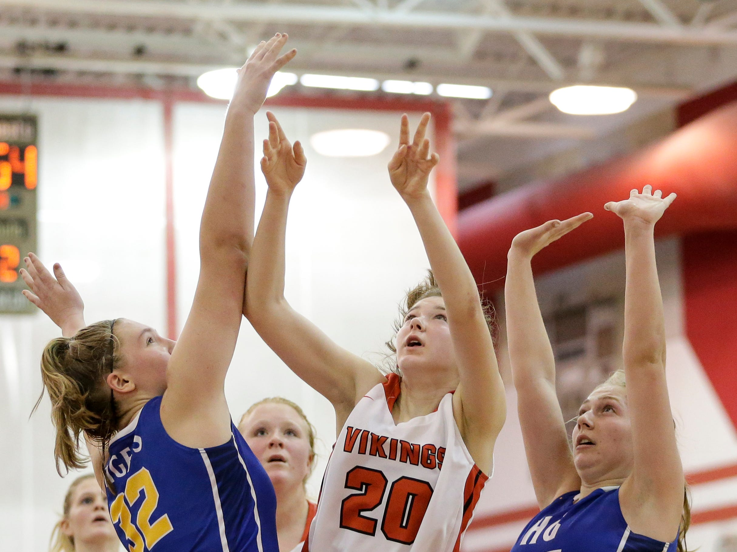 Valders' Kate Wagner (20) looks to shoot against Howards Grove in a non-conference game at Valders High School Saturday, January 19, 2019, in Valders, Wis. Joshua Clark/USA TODAY NETWORK-Wisconsin